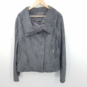 Blank NYC Faux Suede Gray Moto Jacket Size 2XL